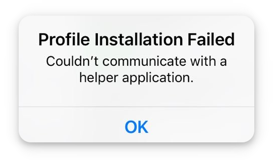 profile installation failed error